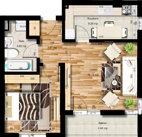 Apartament 2 camere  49 mpu Ch