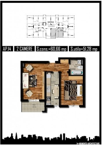 Apartament 2 camere  51 mpu  R